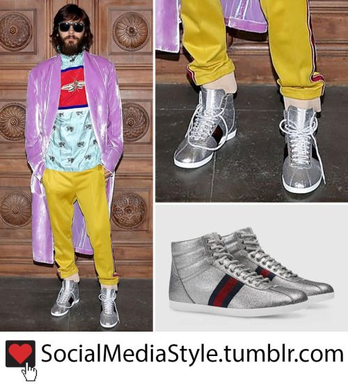 91d54fae232 Buy Jared Leto s Silver Glitter Gucci High Top Sneakers