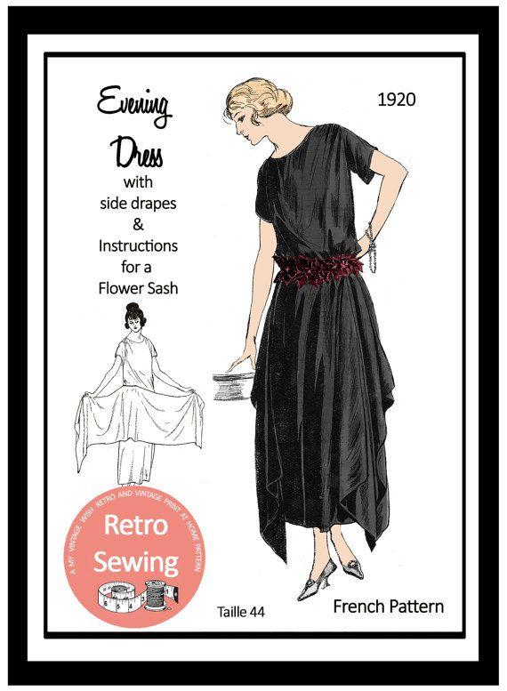 1920s Evening Dress Sewing Pattern Pdf Sewing Pattern Etsy 1920s Evening Dress Evening Dress Sewing Patterns Evening Dress Patterns