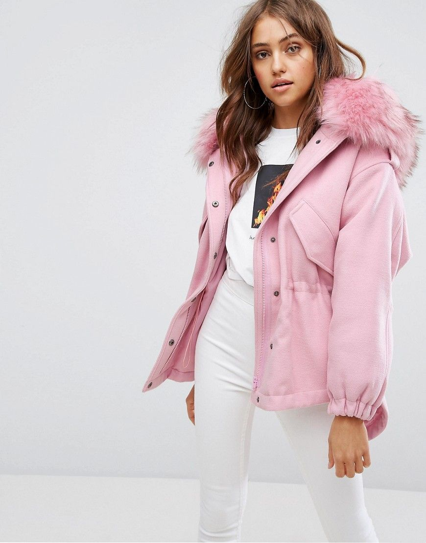 3ed1d04cefa4 Boohoo Faux Fur Hooded Parka Jacket in 2019 | Winter Outfits | Parka ...
