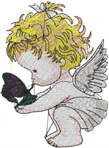 This Free Embroidery Design Is A Baby Angel Butterfly So Precious