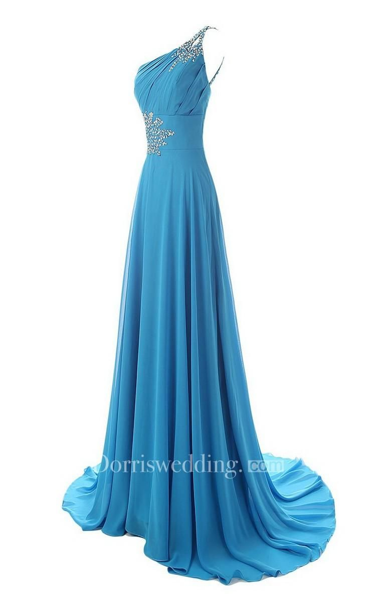 Sequined oneshoulder chiffon aline dress with laceup back in