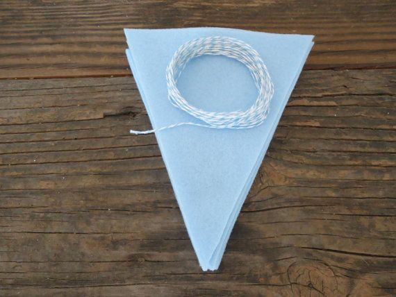 #DIY kit Blue Felt Banner Baby Shower Bunting. Use paint to custom design these flags. SweetThymes.etsy.com