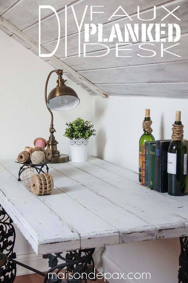 Make a gorgeous, painted, planked look desktop from plywood! via maisondepax.com