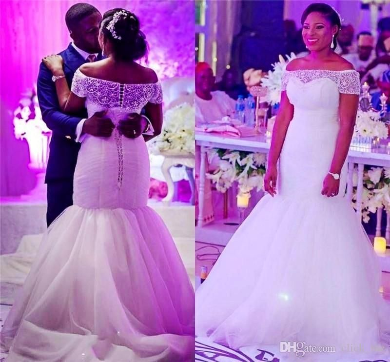 African mermaid wedding dresses off the shoulder beaded for Plus size african wedding dresses
