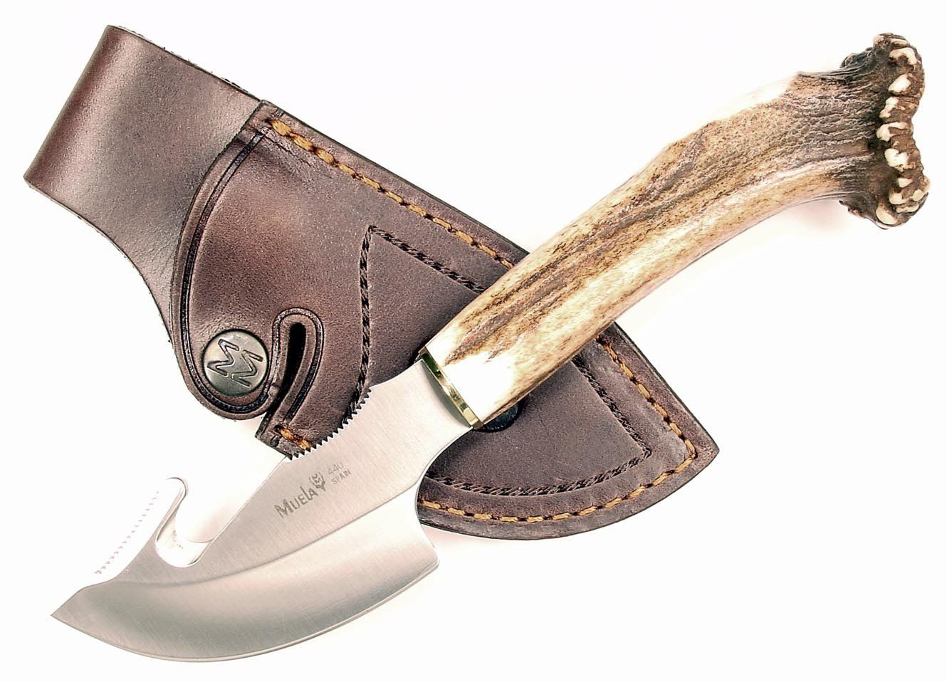Ruko 3 1 8 Inch Blade Gut Hook Skinning Knife With Genuine Deer Horn Crown Handle And Leather Sheath Check Out The Image Skinning Knife Leather Sheath Knife