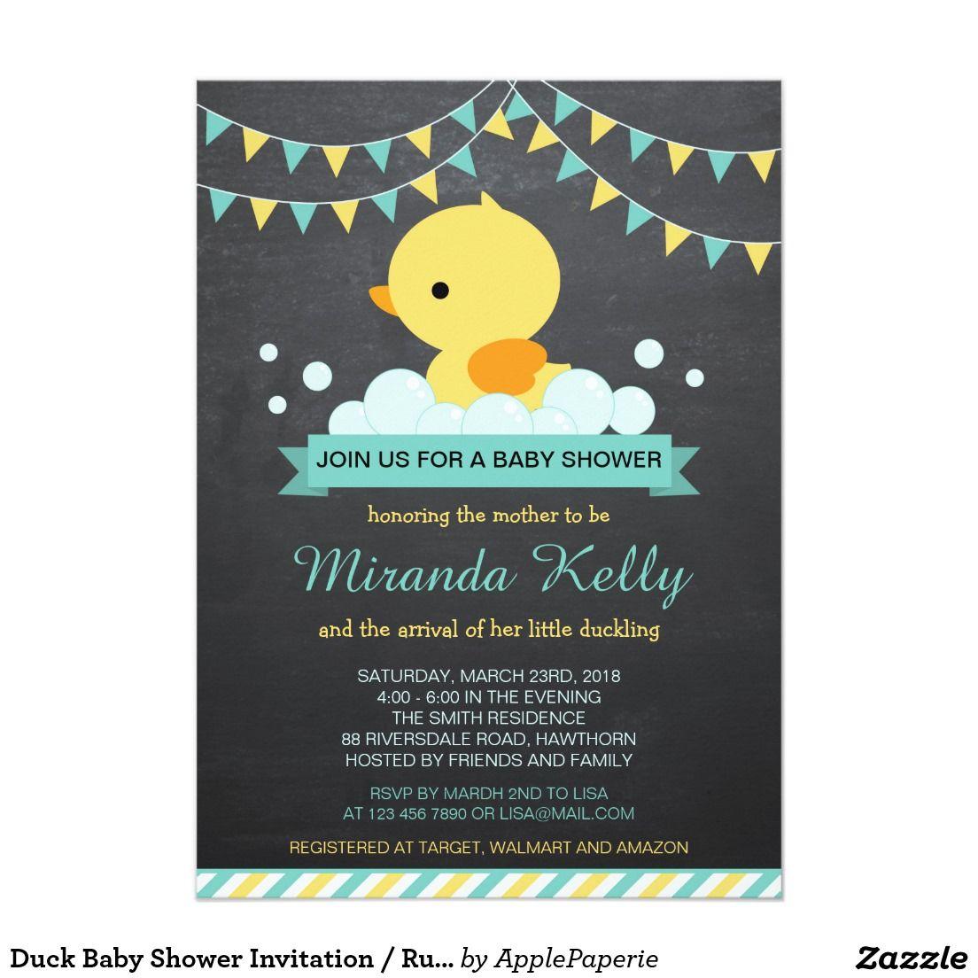 Duck Baby Shower Invitation / Rubber Duck Invite, duck baby shower ...