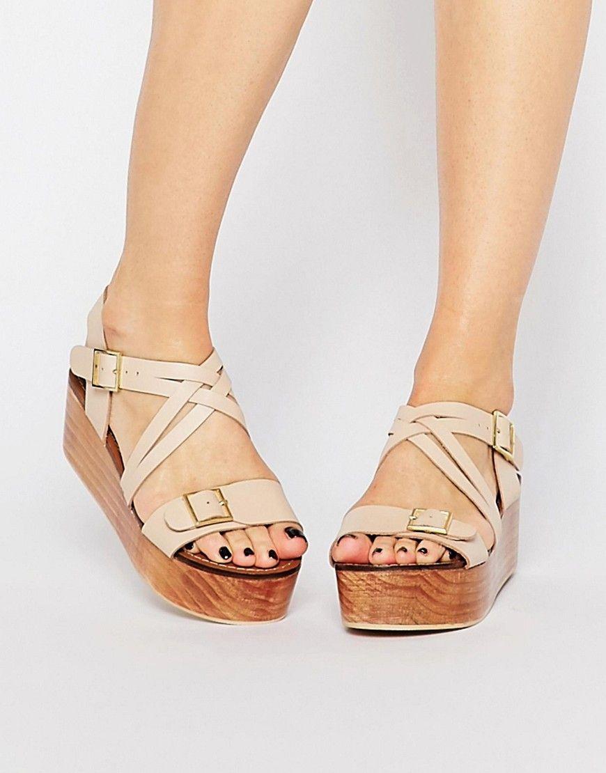 9297823b2470 Image 1 of Park Lane Leather Flatform Sandals