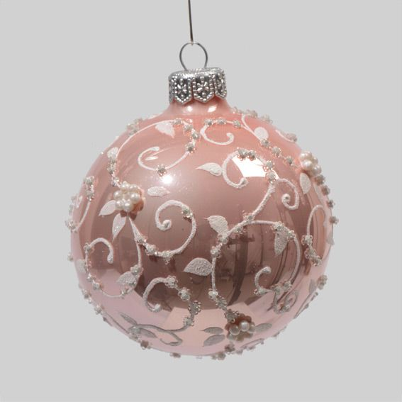 assortiment de 6 boules de no l en verre glamour rose christmas paintings ornament and. Black Bedroom Furniture Sets. Home Design Ideas