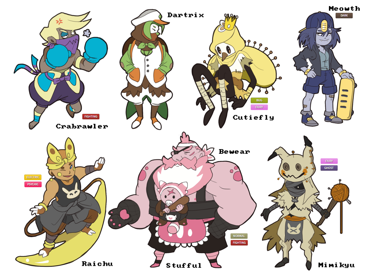 happy new years! here are all the pokemon gijinka adopts ive drawn so far up until this point. cant wait to do more next year! thanks for all the support!