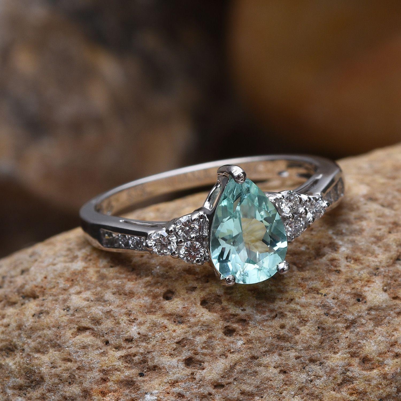 Iliana 18k Wg Mozambique Paraiba Tourmaline, Diamond Ring (size 70) Tdiawt  034 Cts, Tgw 1340 Cts