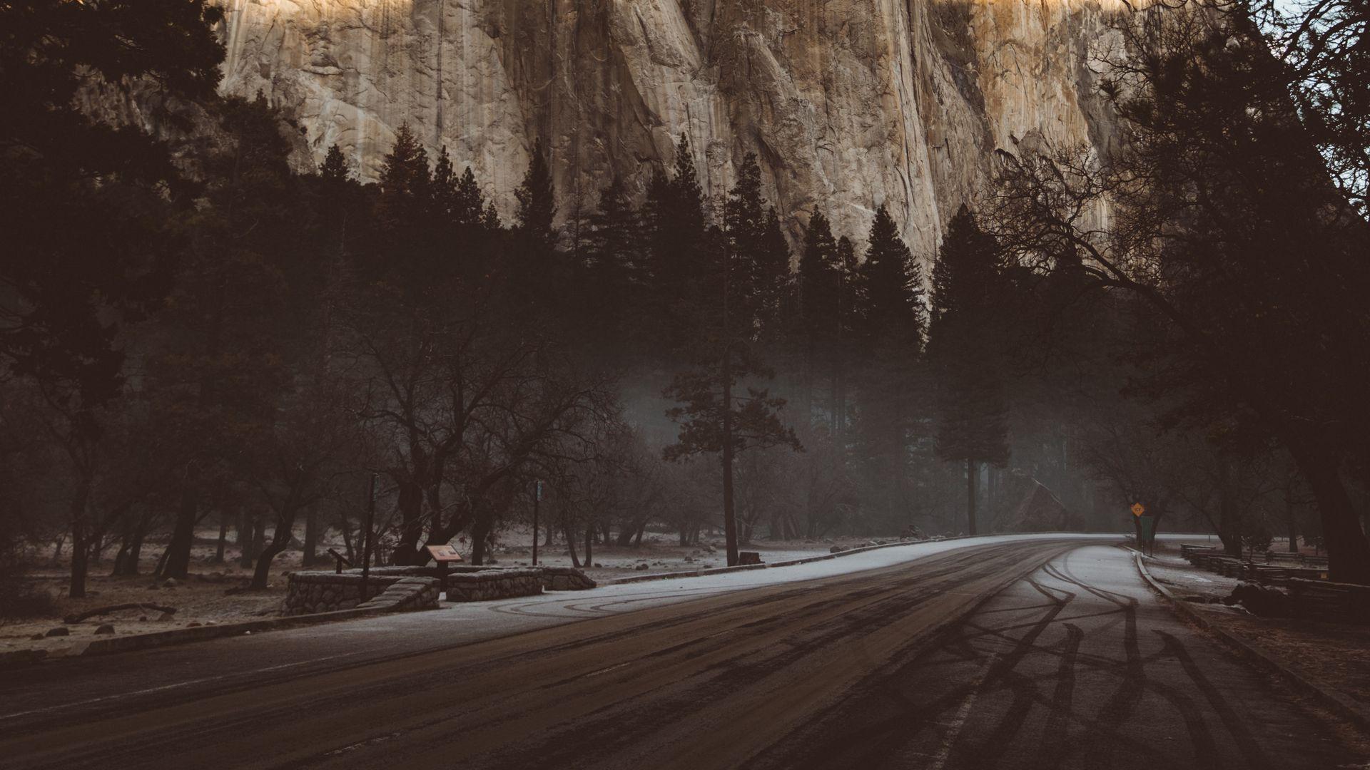 Pin On Wallpaper Hd wallpaper road turn trees mountain