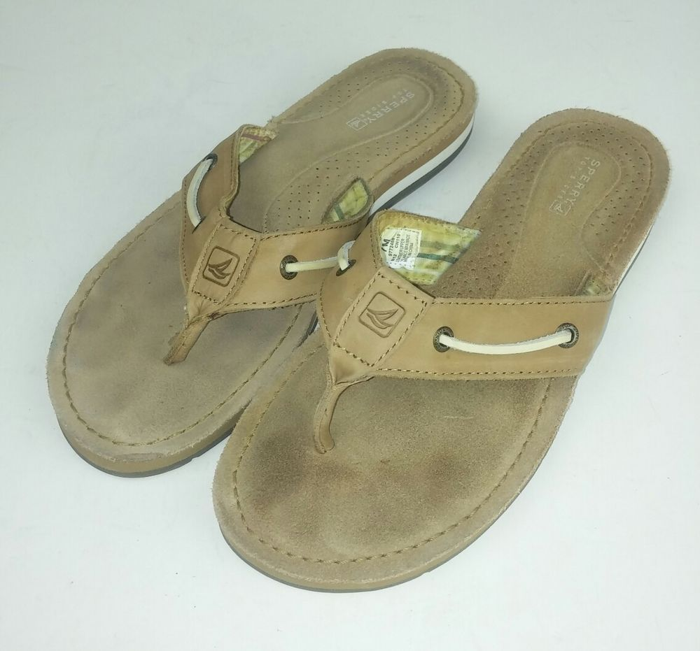115a10a3f32aed Sperry Top-Sider Women s Size 7 Flip Flops Sandals 9772468 Brown Leather  Boat  SperryTopSider  FlipFlops