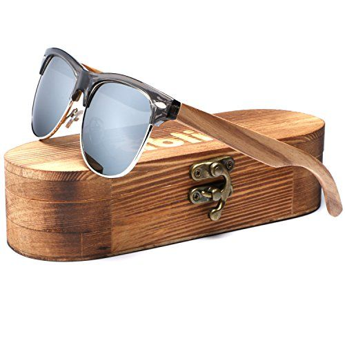 a99244d32 Ablibi Bamboo Wood Clubmaster Sunglasses with Polarized Lenses in Original  Boxes (Zebra Wood, Silver