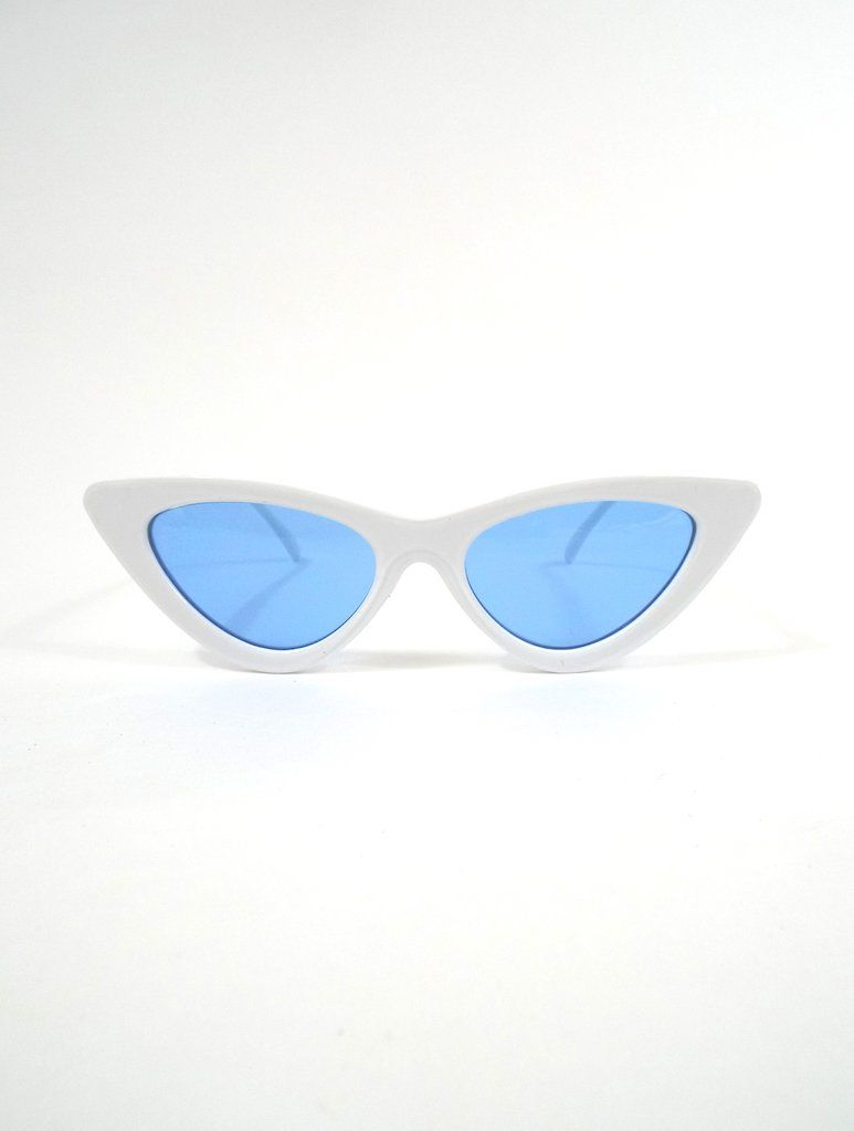 a051658a27 Space Babe White Skinny Cat Eye Sunglasses