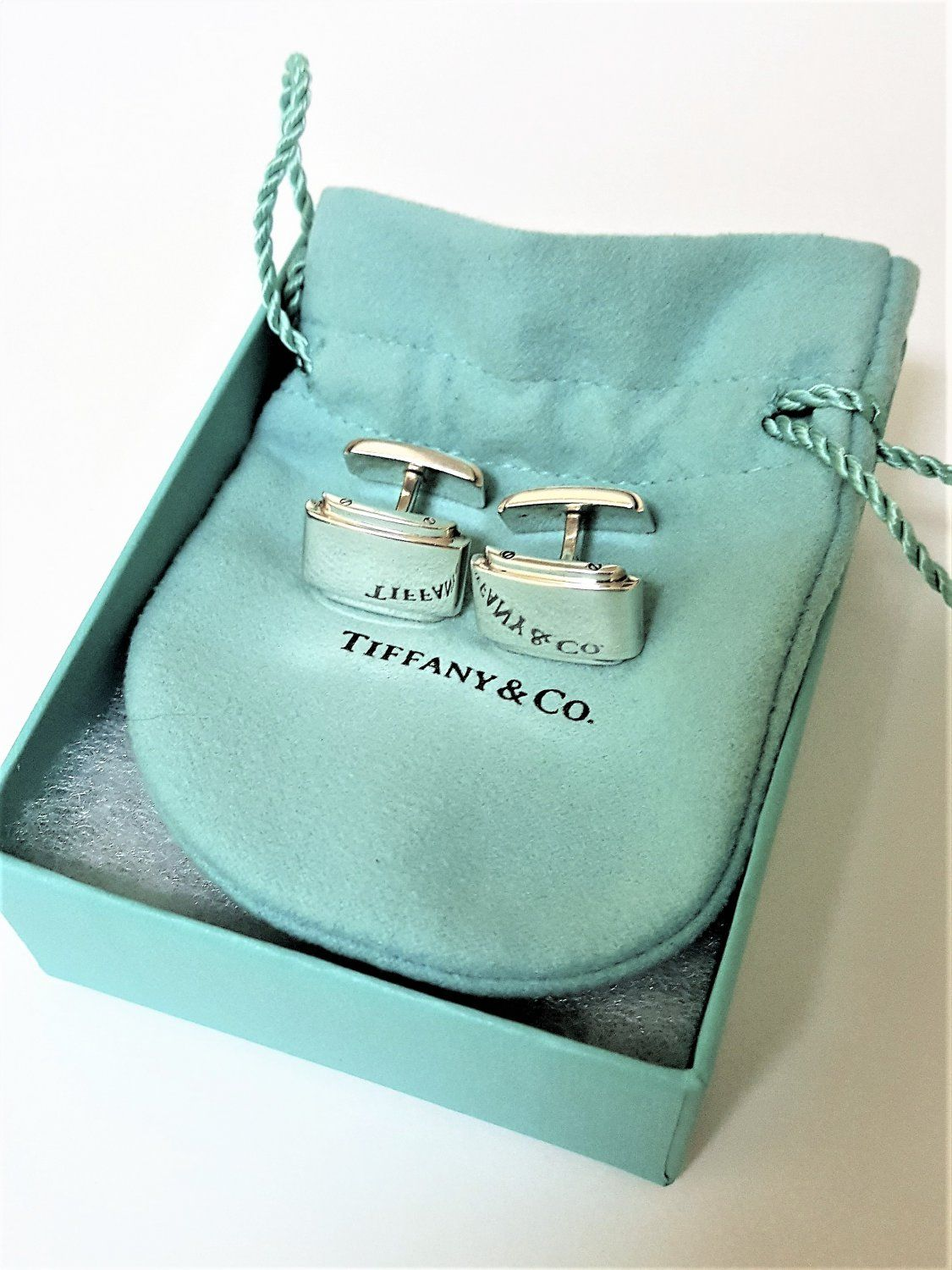 05d74edee TIFFANY+AND+CO,+CUFF+LINKS+~+METROPOLIS+~+925 +SOLID+SILVER+~+BOX+AND+POUCH+~+EXCELLENT+!