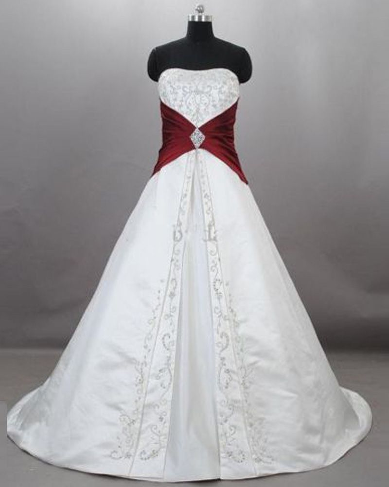 Gothic White/&Red Ball Gowns Wedding Dresses Formal Bridal Gowns Custom All Size