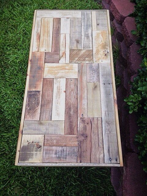 Chevron Reclaimed Pallet Wood Coffee Table With Metal Hairpin Legs