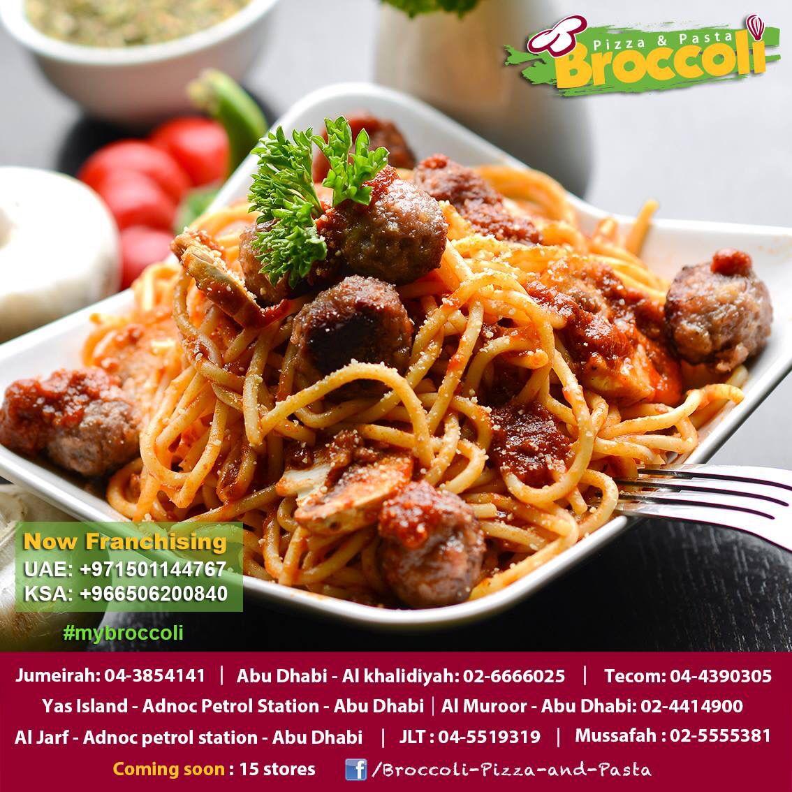 Try Our Yummy Meatballs Pasta جرب معكرونة بكرات اللحم اللذيذة We Love Pizza Pasta نحن نحب البيتزا و الباستا Broccoli Pizza Meatball Pasta Pizza Pasta
