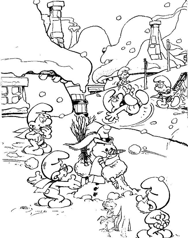 Kleurplaten Winter Disney.Kleurplaat Winter Winter Smurfen Coloring Pages Cartoon