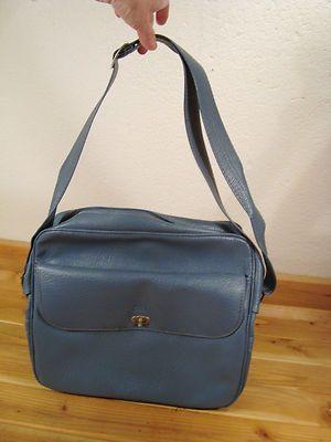 Vintage Sears Blue Vinyl Carry On Shoulder Flight Luggage Bag With Keys
