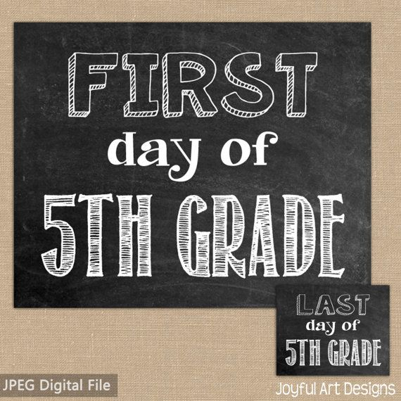 photograph relating to First Day of 5th Grade Printable identified as Initially Working day of 5th Quality Chalkboard PRINTABLE Indication. Ultimate Working day
