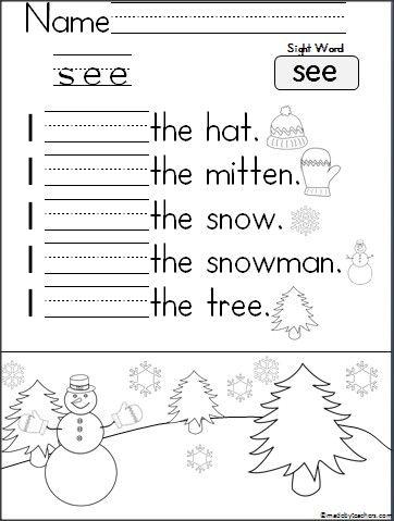 Kindergarten Writing Practice I See Madebyteachers Sight Words Kindergarten Kindergarten Practice Kindergarten Writing