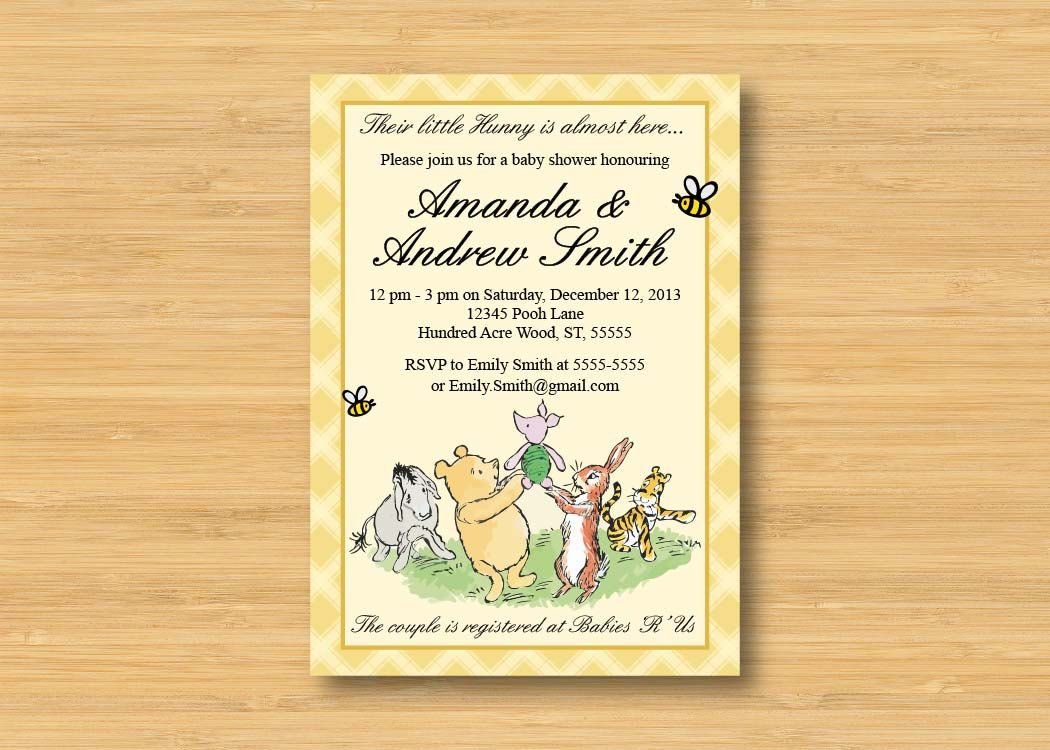 Classic Winnie the Pooh Baby Shower Invitation - Printable - Book ...