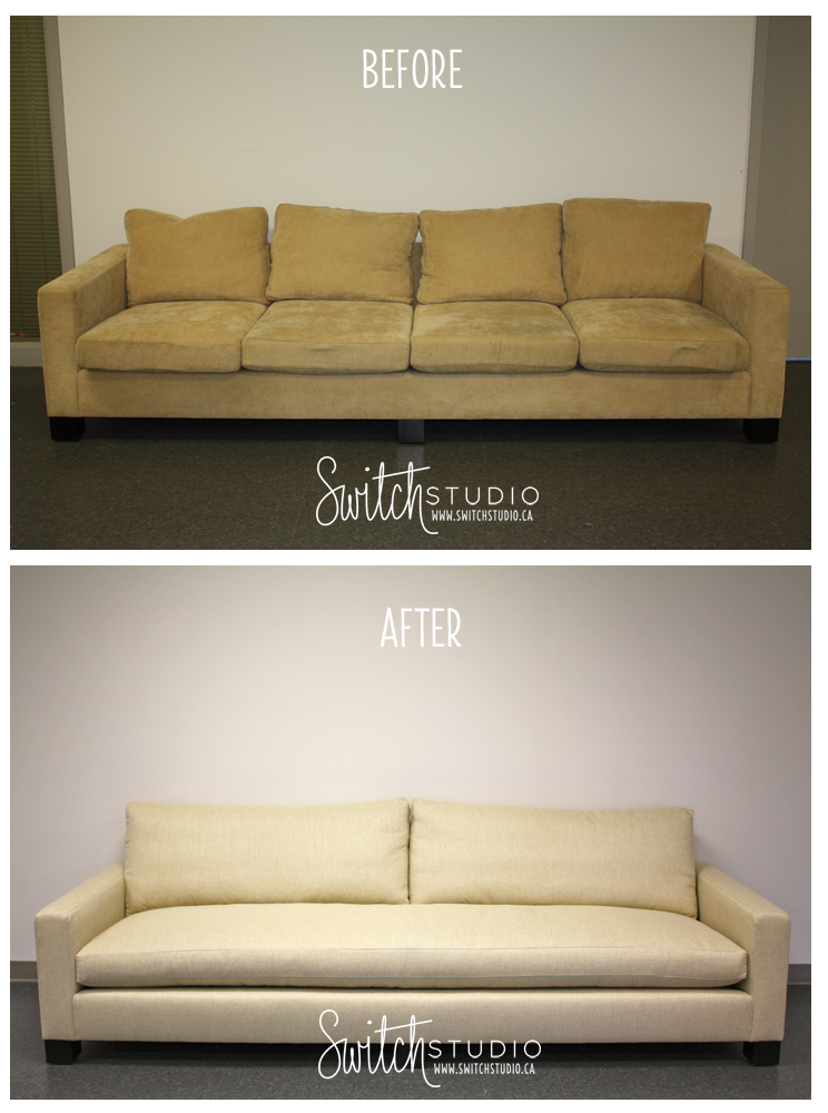 Leather Sofas Switch Studio Before u Afters Sarah Richardson us Claremont Sofa reupholstered in Thom Filicia