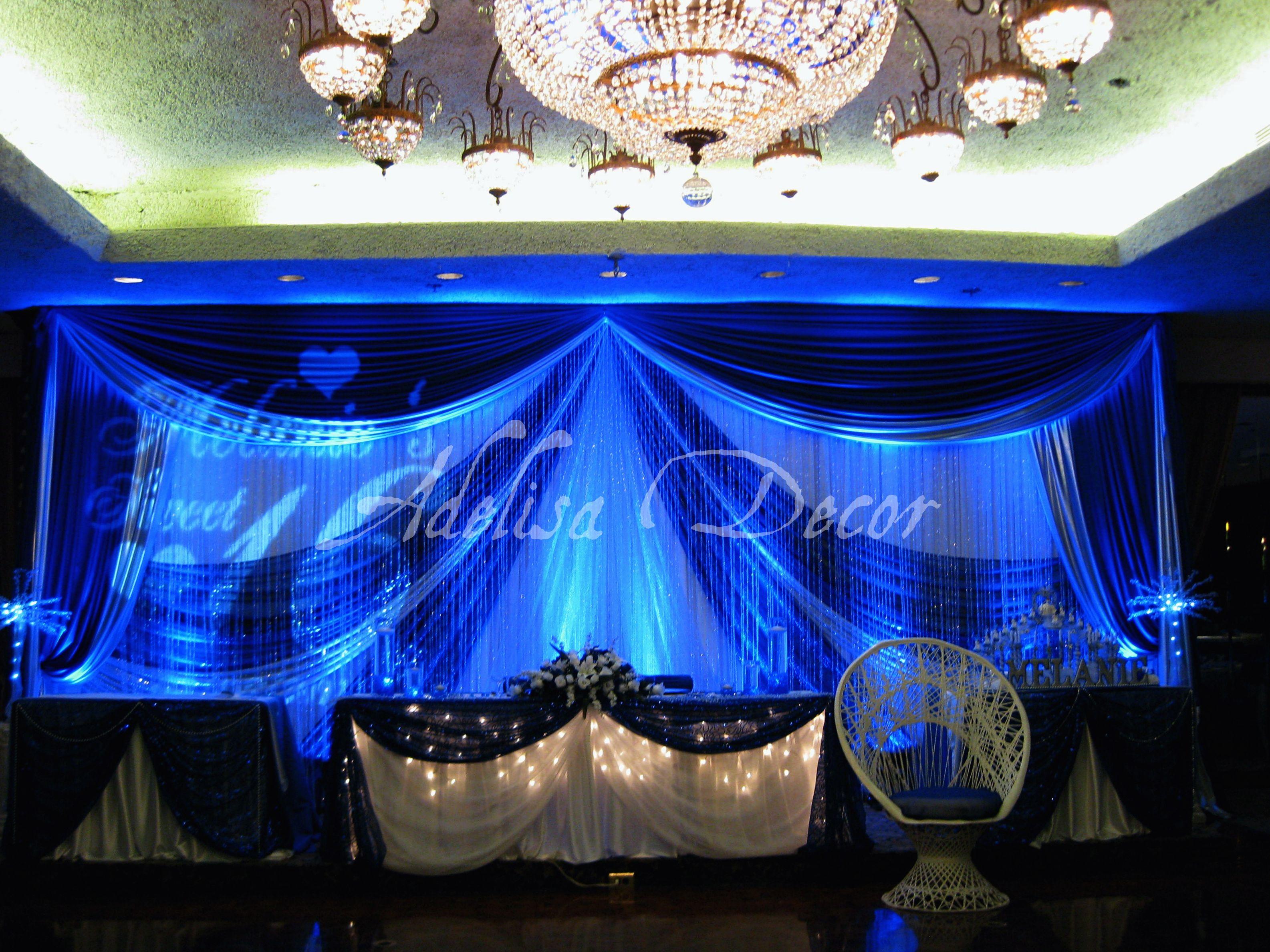 Beautiful Royal Blue Amp White Sweet Sixteen Backdrop