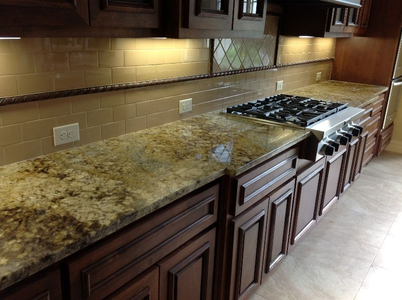 Granite Countertop Examples | Our Work | Fox Granite. Jaguar Granite/ Glass  Tile Backsplash. Wish I Knew The Color And Maker