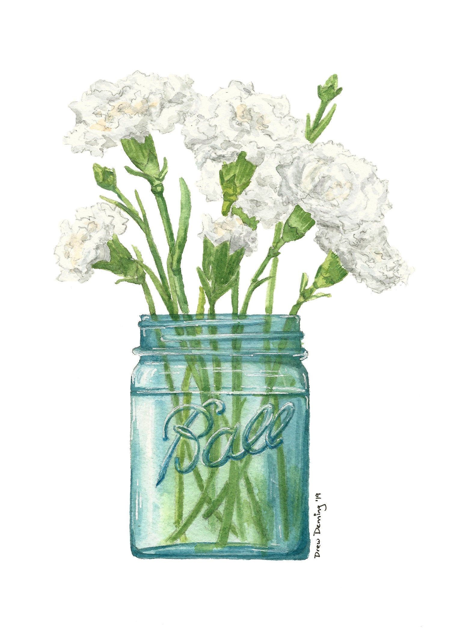 White Carnation Bouquet Watercolor Print In 2020 Watercolor