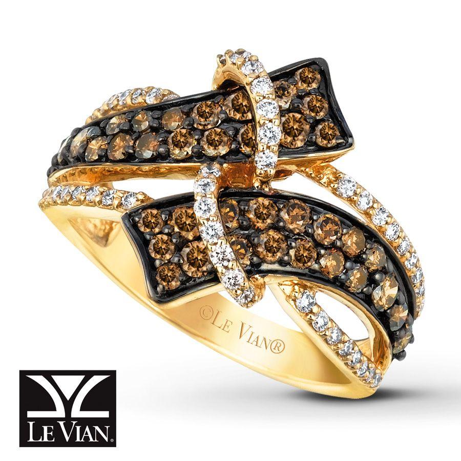 LeVian Chocolate Diamonds 116 ct tw Ring 14K Honey Gold