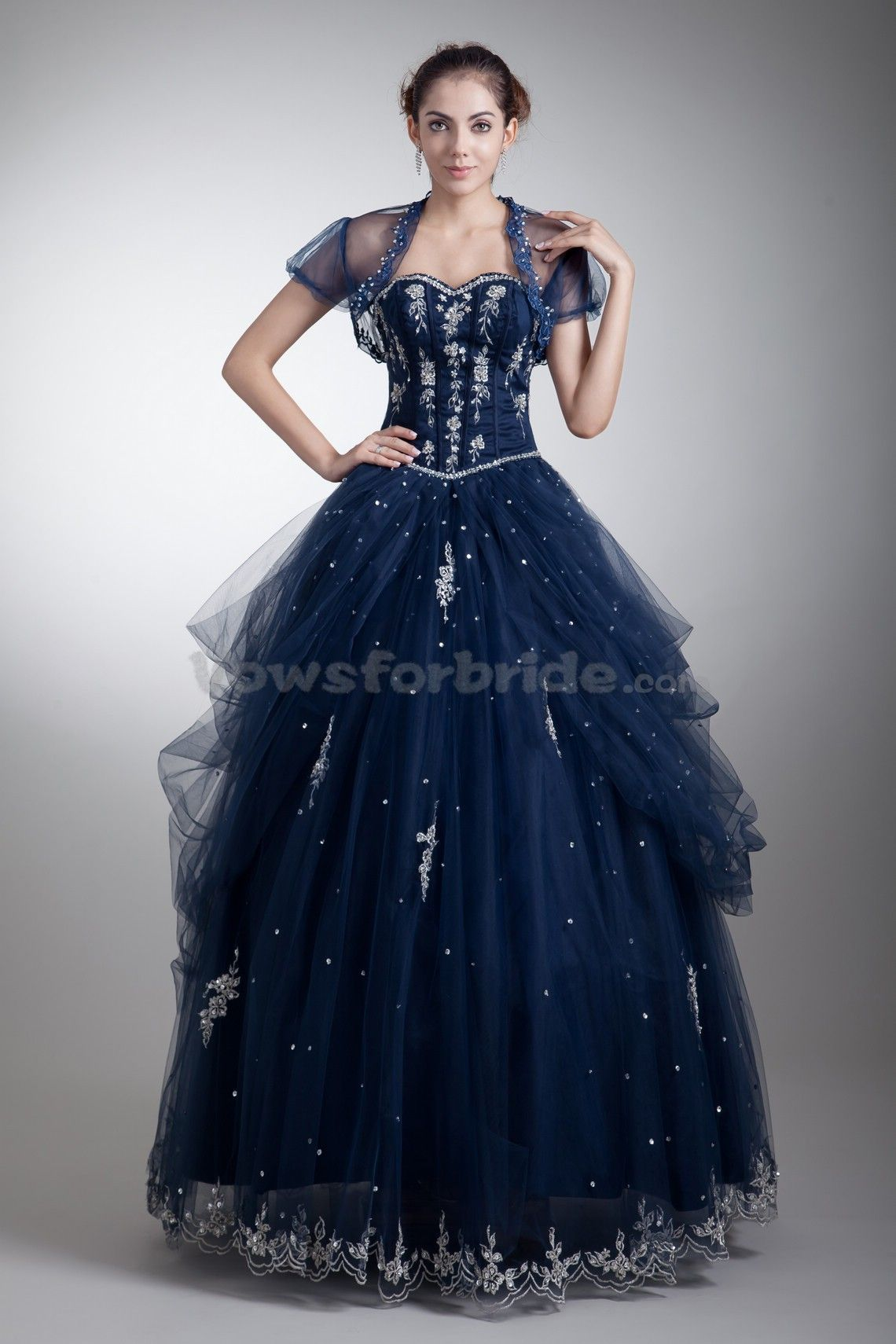 34ab7d5a0ece Satin-and-net-sweetheart-floor-length-ball-gown-embroidered-prom-dress -with-jacket