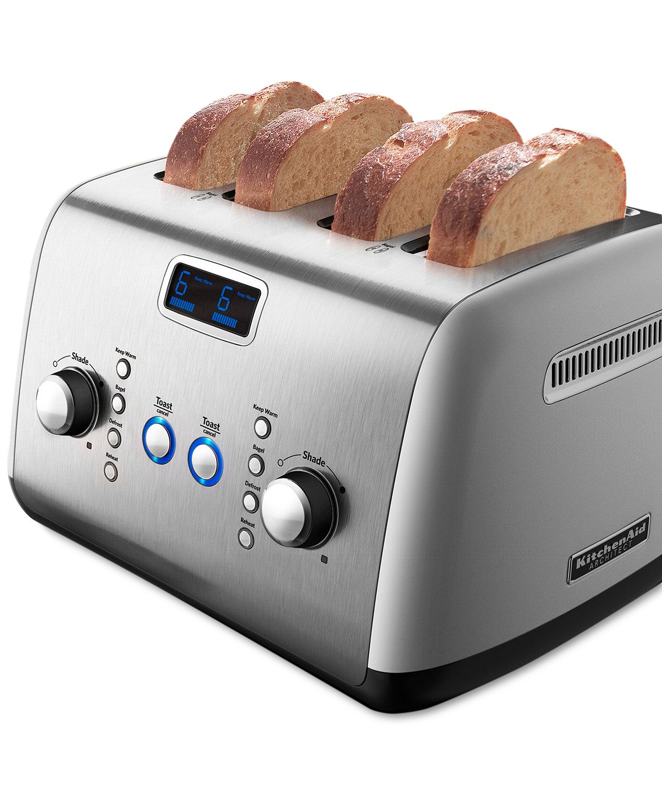 KitchenAid KMT423CS Architect Digital 4 Slice Toaster   Toasters U0026 Toaster  Ovens   Kitchen   Macyu0027s