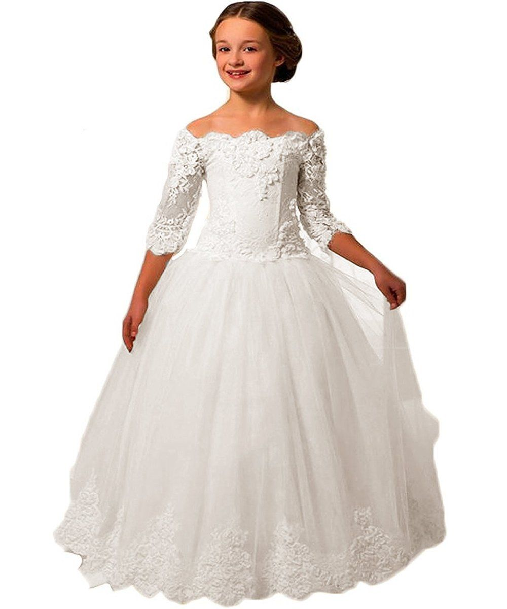 Promqueen girlsuball gown lace sleeves flower girl dresses for