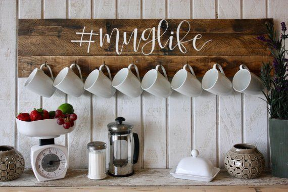 Coffee Mug Wall Rack Coffee Lover Decor Mug Holder Coffee Mug Rack Pallet Wo Coffee Decor Holder Lover Mug Pallet Rack Wall In 2020 With Images