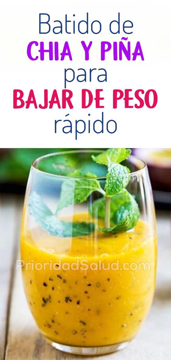 Como Bajar De Peso Con El Batido De Chía Y Piña Natural Detox Drinks Healthy Drinks Natural Smoothies