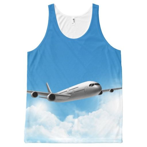 Jet Flying On The Sky All-Over Print Tank Top Tank Tops