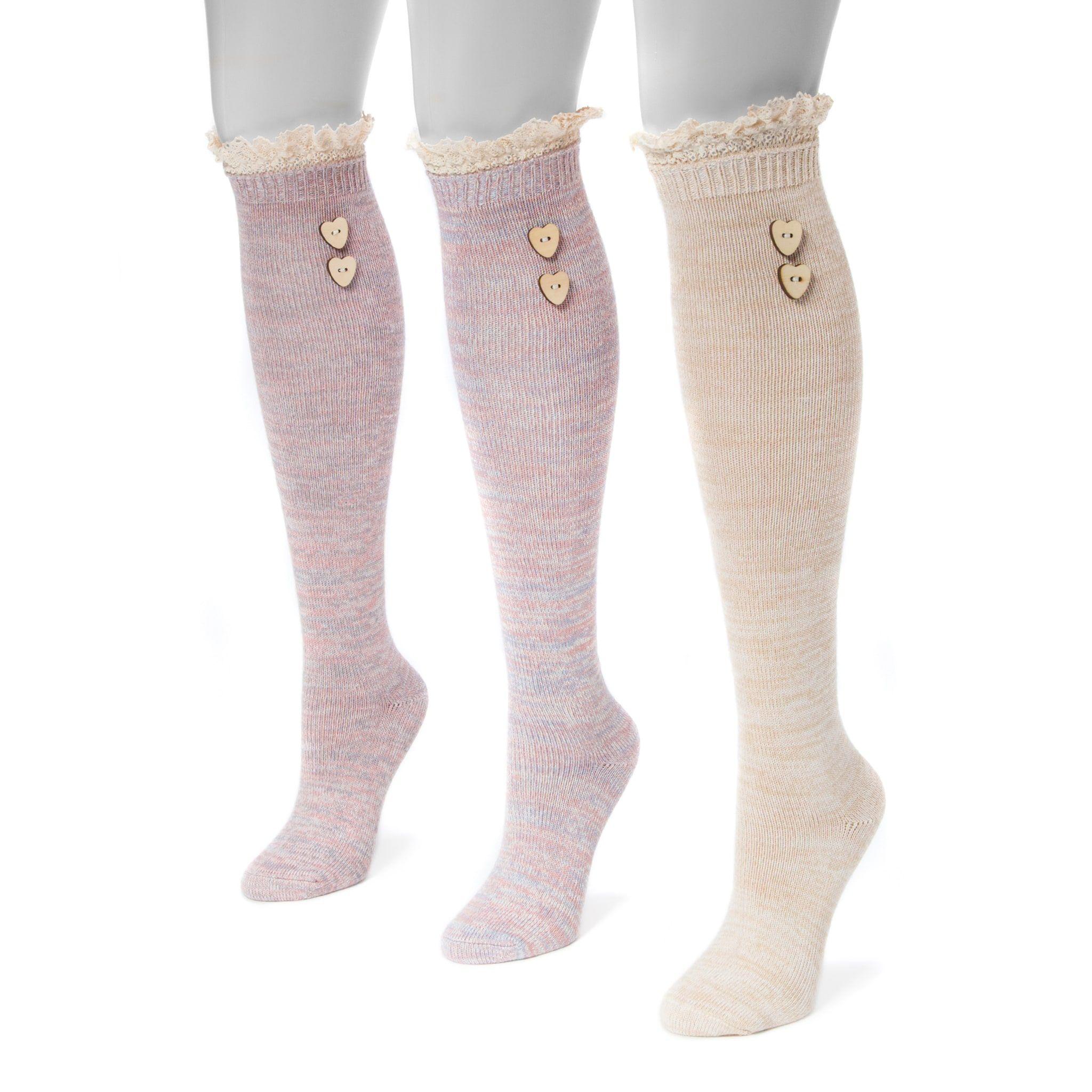 bd8f42430 Women s MUK LUKS 3-pk. Lace Heart Button Knee-High Socks in 2019 ...