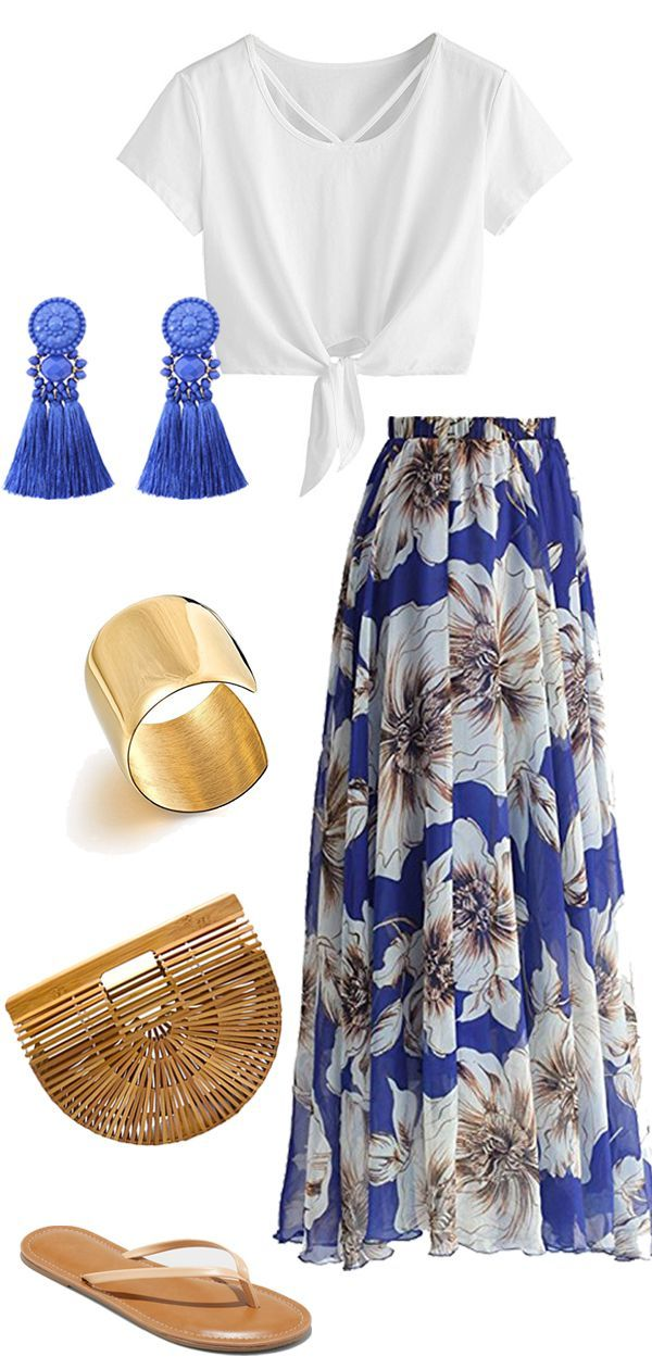 Blue Floral Maxi for Summer