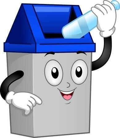 Ilustracion De Un Bote De Basura Mascot Poner Una Botella Vacia En Su Interior Bote De Basura Distintivos Para Ninos Manualidades Para Ninos Pequenos