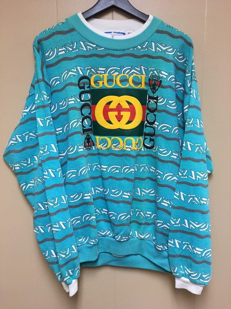 a99aebe4e Vintage 80s Bootleg Gucci Logo Print Sweatshirt Raised Design | eBay