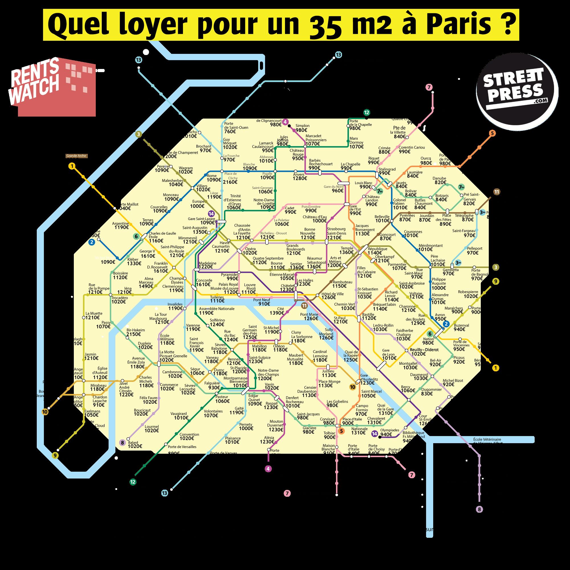 La carte des stations de métro selon le prix des loyers à Paris