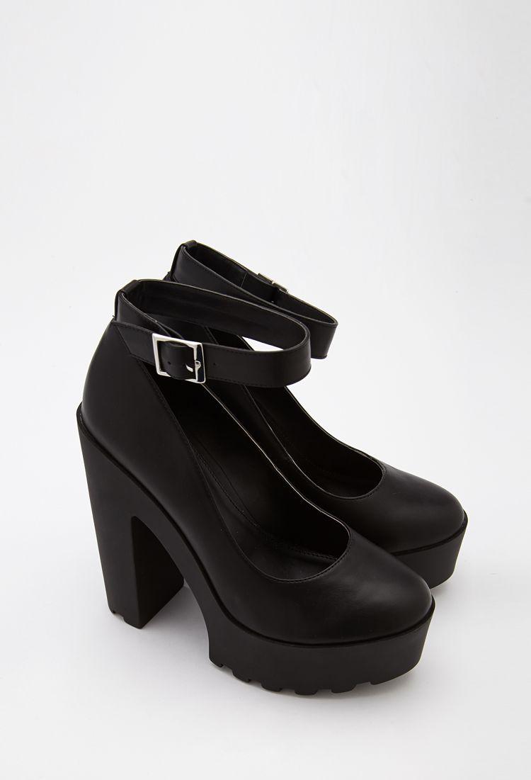9a2564a7518 Lug Sole Ankle Strap Platform Heels