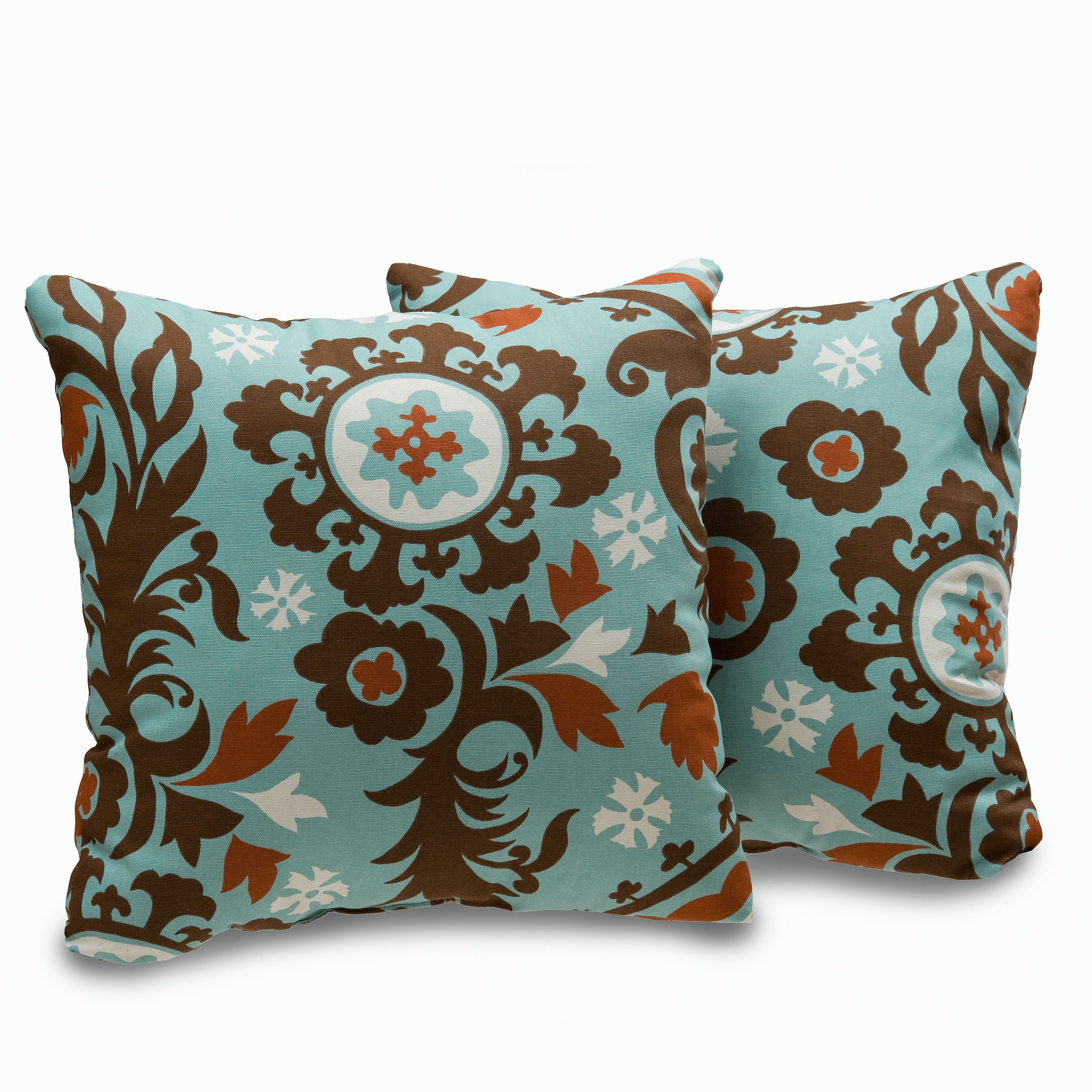 Add charming appeal and complete the look of your favorite living space with this set of two, Uptown decorative throw pillows. These attractive accents offer a soft cotton cover construction and a geometric-inspired pattern.