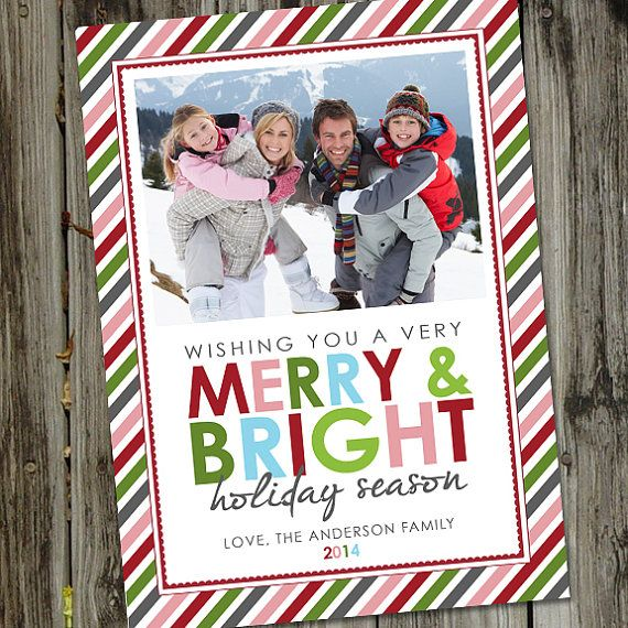 Merry Bright Stripes Holiday Photo Card Christmas By