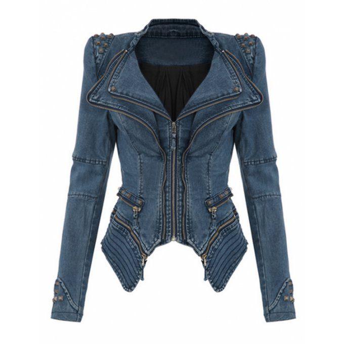 Blouson jeans asymétrique amovible & clouté vert - bestyle29.com