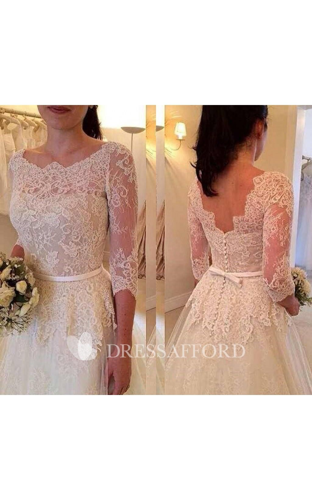 Scoopneck Lace Aline Tulle Dress With LowV Back Lace