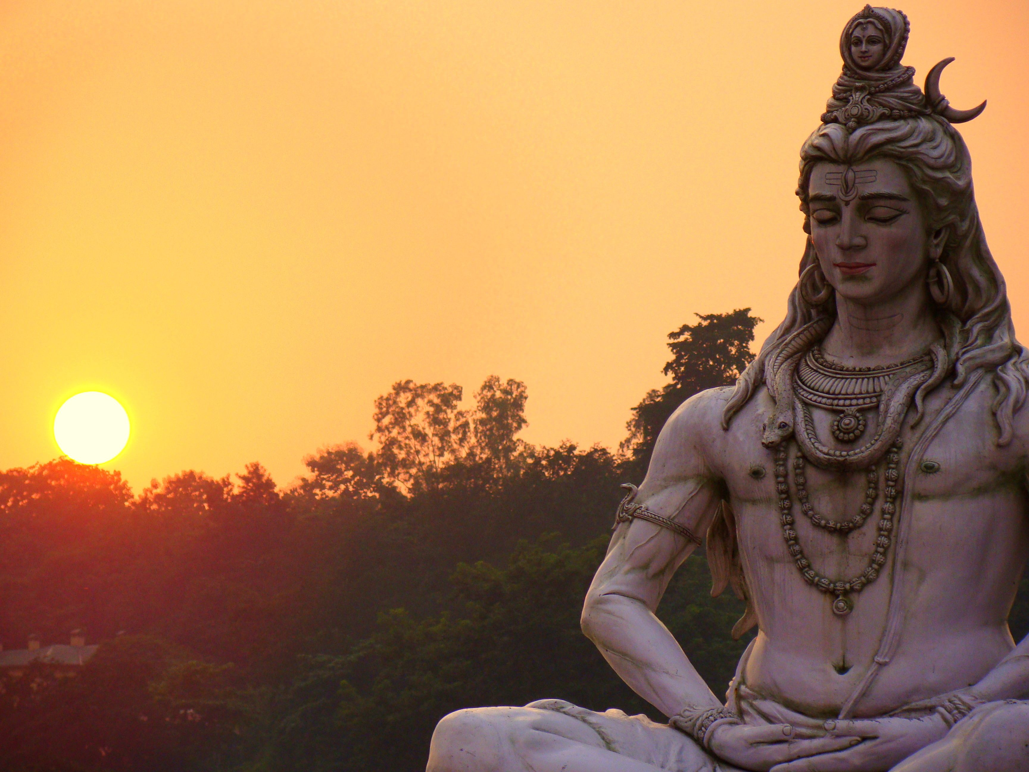 Andhra Temples Lord Shiva Wallpaper: Lord Shiva And The Sunset In Rishikesh.