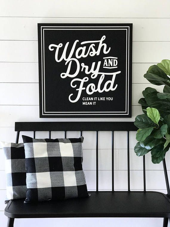 WASH DRY and FOLD Painted Wood Sign | Wall decor - Available in M ...